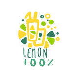 Lemon 100 percent logo template original design, colorful hand drawn vector Illustration. For organic food menu, restaurant and cocktail bar, summer refreshment Royalty Free Stock Images