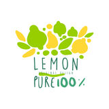 Lemon 100 percent logo template original design, colorful hand drawn vector Illustration. For organic food menu, restaurant and cocktail bar, summer refreshment vector illustration