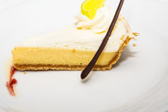 Lemon Pie with Chocolate Straw Royalty Free Stock Photography