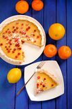 Lemon pie with condensed milk decorated with fresh cranberries a Royalty Free Stock Photo