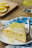 Lemon pie with creamy sauce Stock Photo