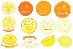 Lemon Pie Logo and Vector Icon. For many purpose such as bakery shop logo, print on canvas, paper, apron, stationary, etc royalty free illustration