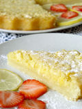 Lemon pie with strawberries. Pastry,lemon pie, pie, fancycake, cake royalty free stock photography