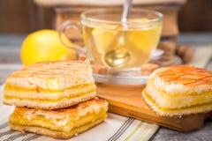 Lemon pie with tea Stock Photo