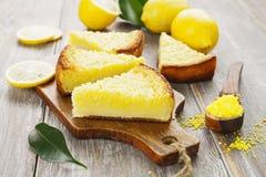 Lemon pie with  yellow coconut Stock Photography