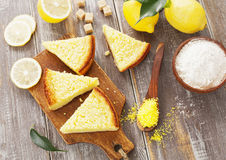 Lemon pie with  yellow coconut Royalty Free Stock Image
