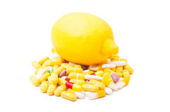 Lemon on pills Stock Image