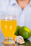 Lemon, pills of vitamin C and a glass of vitamin C dissolved over the table Royalty Free Stock Photography
