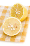Lemon on placemat isolated Stock Images