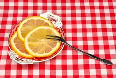 Lemon on a plate Royalty Free Stock Images