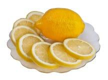 Lemon on plate Stock Photos