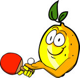 Lemon playing ping pong Royalty Free Stock Image