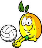 Lemon playing volleyball Royalty Free Stock Images