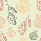 Lemon and pomegranate seamless hand drawn pattern. Vector Royalty Free Stock Photography