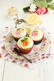 Lemon and poppy seeds cupcakes Royalty Free Stock Photos
