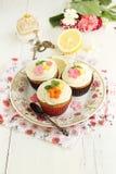 Lemon and poppy seeds cupcakes Royalty Free Stock Photos
