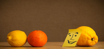 Lemon with post-it note smiling at citrus fruits Royalty Free Stock Images