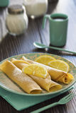 Lemon and Powdered Sugar Dessert Crepes Royalty Free Stock Photo