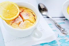 Lemon pudding in white cup Stock Photography