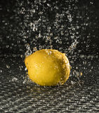 Lemon in the rain. A fresh lemon in the rain lying on a structured surface Royalty Free Stock Photo