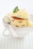Lemon and raisin cake. Slice with lemon sauce, selective focus royalty free stock image