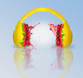 Lemon and raspberry headphones Royalty Free Stock Photo