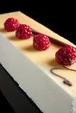 Lemon and raspberry mousse Stock Photo