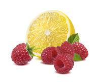 Lemon raspberry  on white background. Fresh lemon raspberry  on white background as package design element Stock Photography