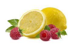 Lemon raspberry  on white - horizontal composition Stock Photo