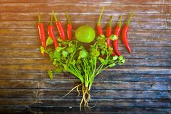 Lemon, red chillies and coriander, Thai food ingredients