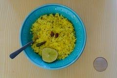 Lemon rice in ceramic bowl stock photos