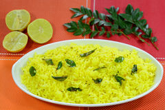 Lemon Rice. Is a popular indian rice dish made out of rice and lemon juice Royalty Free Stock Photo