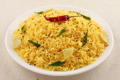 lemon rice from South Indian cuisine. Stock Photos