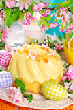 Lemon ring cake on easter table Stock Photography