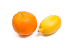 Lemon and Ripe orange  on white. With clipping path. Stock Image