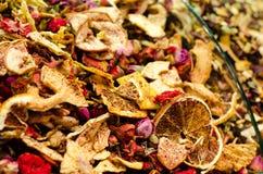 Lemon an rose flowers tea mix on turkish market.  Stock Photos