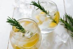 Lemon and rosemary soda. Lemon and rosemary refreshing alcoholic drink, soda or fizz Stock Image