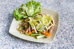 Lemon salad with BBQ meat Stock Photo