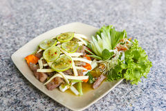 Lemon salad with BBQ meat Royalty Free Stock Image