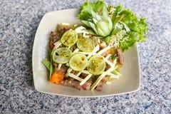 Lemon salad with BBQ meat Stock Image
