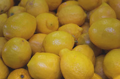 Lemon for sale on market. Agriculture background. Top view. Clos Royalty Free Stock Photo