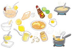 Lemon Sauce Chicken Vector Illustration. For many purpose such as print on book, stationery, apron, canvas, plastic, clothes, display as website or blog banner Royalty Free Illustration