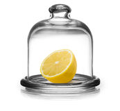 Lemon in saucer with lid Royalty Free Stock Photos