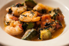 Lemon Sauteed Shrimp with Tomato and Avocado Stock Photo
