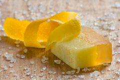 Lemon scented soap Stock Images