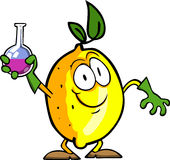 Lemon scientist holds beaker of chemicals Royalty Free Stock Image