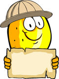 Lemon scout or explorer holding a blank old paper Stock Photo