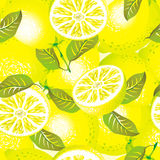 Lemon seamless pattern. Raster version of vector lemon background (seamless pattern Stock Image