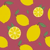 Lemon seamless pattern. Fresh citrus fruit with leaf background. Vector. Royalty Free Stock Photography