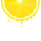 Lemon Segment With Juice Stock Photo
